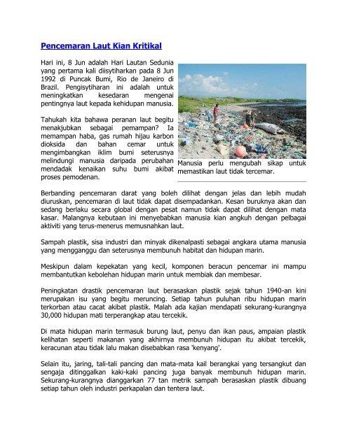 Pencemaran Laut Kian Kritikal - Jabatan Taman Laut Malaysia
