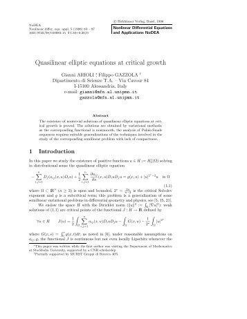 Quasilinear elliptic equations at critical growth - ResearchGate