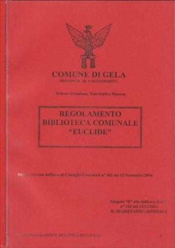 Regolamento Biblioteca - Comune di Gela