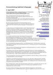 Pressemitteilung Gipfelsoli Infogruppe 4. April 2007