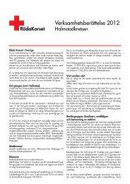 Verksamhetsberättelse 2012 för Halmstadkretsen - Svenska Röda ...