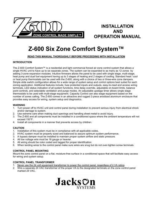 jackson hvac zone wiring diagram z 600 six zone comfort system jackson systems  z 600 six zone comfort system jackson