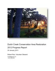 Dutch Creek Conservation Area Restoration 2012 Progress Report