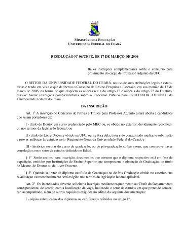 resolução 06 - 2006 do cepe - Universidade Federal do Ceará