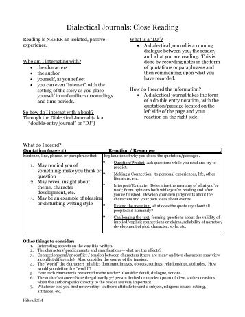 night dialectical journal Sample dialectical journal: night source material (provide a direct quotation or paraphrase and a parenthetical citation) page # respond, analyze, and evaluate.