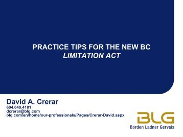 Limitation Act - University of British Columbia Faculty of Law