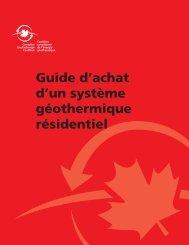 Guide d'achat d'un système géothermique résidentiel - Canadian ...