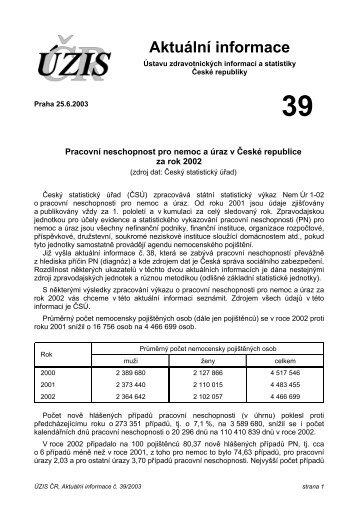 Aktuální informace č. 39/2003 - Ústav zdravotnických informací a ...