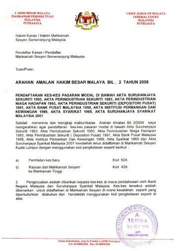 Arahan Amalan Hakim Besar Malaya Bil.2 Tahun 2008