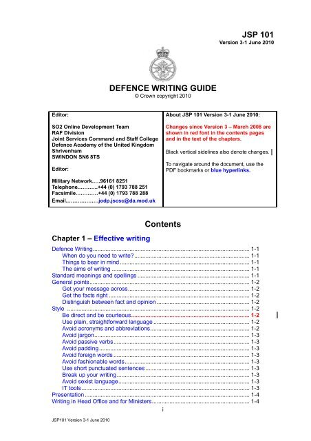 JSP 101 Defence Writing Guide - Defence Academy of the