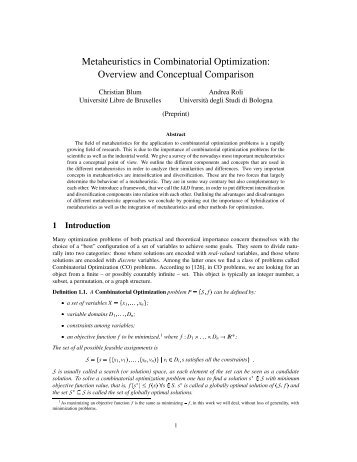 Metaheuristics in Combinatorial Optimization: Overview and ...