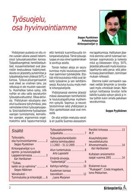 KP-LEHTI 3/2001 - Kirkonpalvelijat ry
