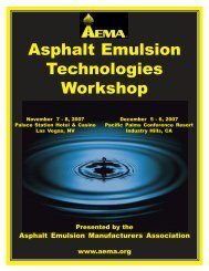 Asphalt Emulsion Technologies Workshop - Nevada T2 Center