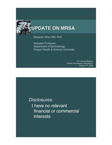 UPDATE ON MRSA - Pacific Dermatologic Association