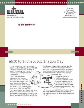 AHEC to Sponsor Job Shadow Day - Faith Regional Health Services