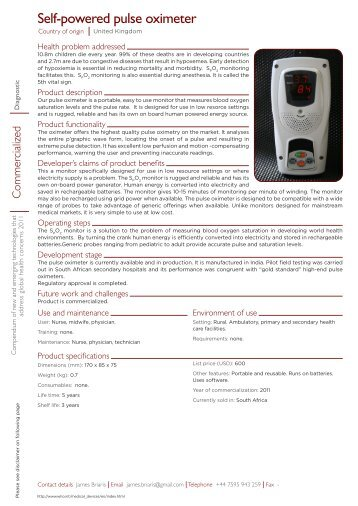 Self-powered pulse oximeter pdf, 316kb - World Health Organization