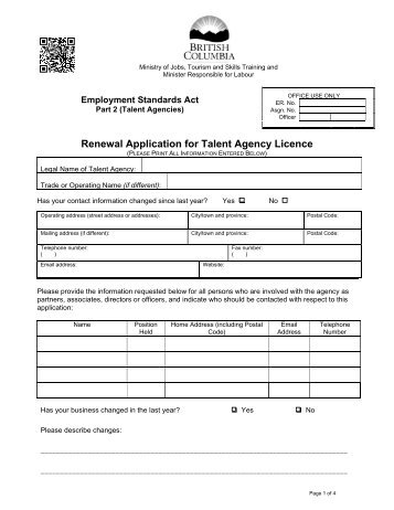 talent agency licence application form jobs tourism and skills