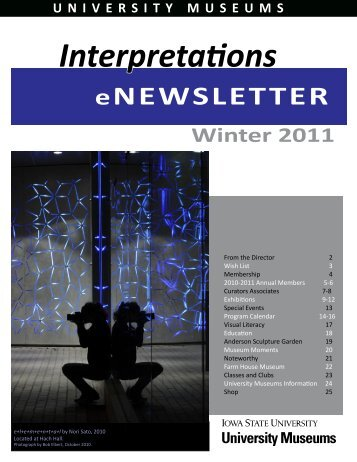 University Museums Interpretations Newsletter - January 2011