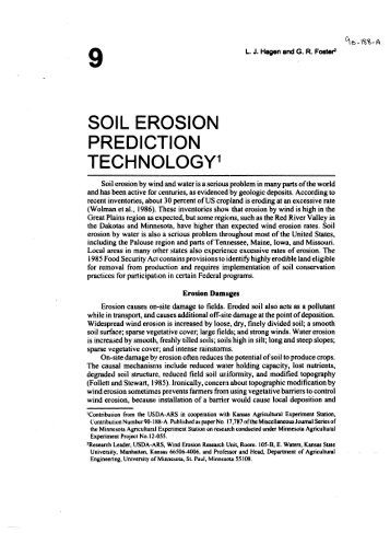 SOIL EROSION PREDICTION TECHNOLOGY - USDA-ARS Wind ...