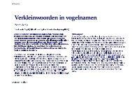 Verkleinwoorden in vogelnamen - home.kpn.nl