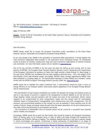 European Automotive Research Partners Association aisbl ... - EARPA
