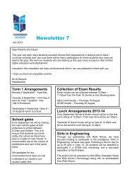Parents / Carers July 2013 Newsletter - Downend School