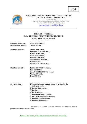 PROCES – VERBAL De la REUNION DU COMITE DIRECTEUR Le ...