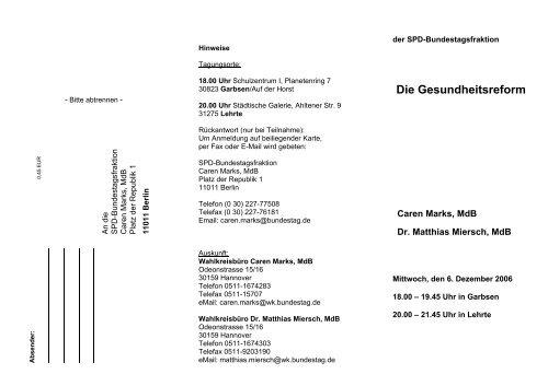 Flyer mit Antwortabschnitt - SPD-Ortsverein Sehnde