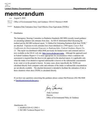 Estimating Radiation Risk from Total Effective Dose Equivalent (TEDE)