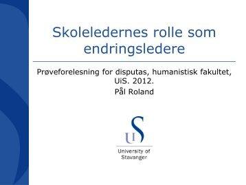 1A: Pål Roland: Skoleledernes rolle som endringsledere