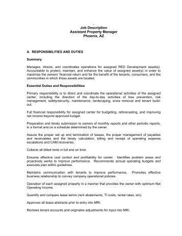 job description assistant property manager phoenix az red salon manager description