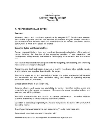 General Manager Job Description  Red Development Llc