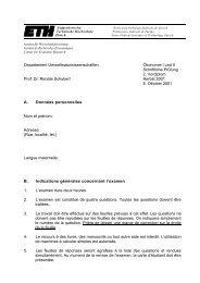 Departement Umweltnaturwissenschaften Ökonomie I und II ...