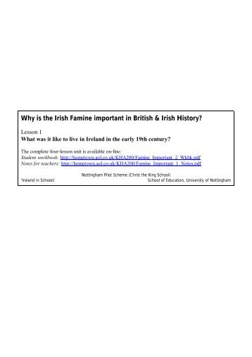 Why is the Irish Famine important in British ... - Ireland in Schools