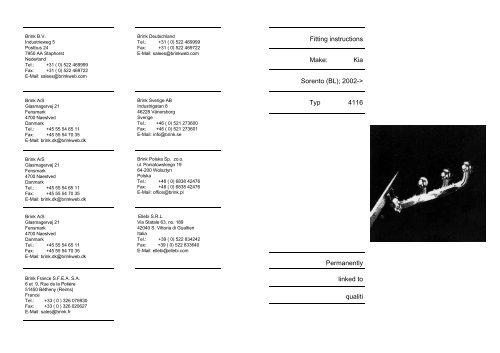 Fitting instructions Make: Kia Sorento (BL); 2002-> Typ 4116 ...