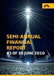 SEMI-ANNUAL FINANCIAL REPORT