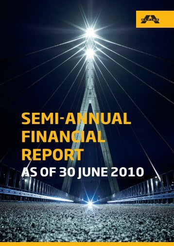 SEMI-ANNUAL FINANCIAL REPORT