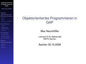 Objektorientiertes Programmieren in GAP