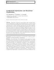 Combinatorial Optimization and Hierarchical Classifications