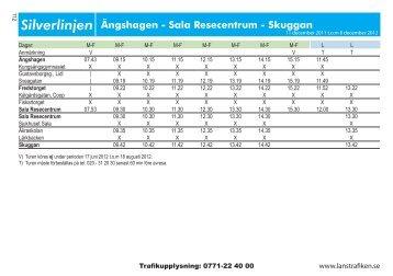 Silverlinjen Ängshagen - Sala Resecentrum - Skuggan
