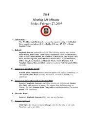 SGA Meeting #20 Minutes Friday, February 27, 2009