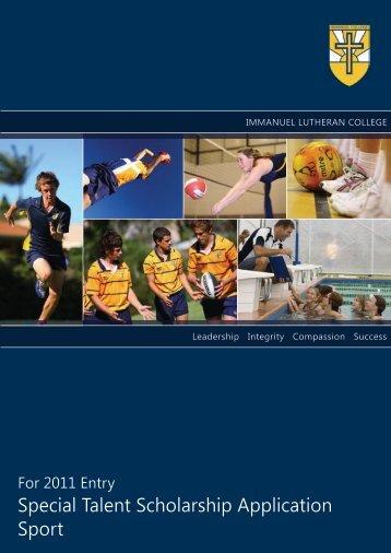 Special Talent Scholarship Application Sport - Immanuel Lutheran ...