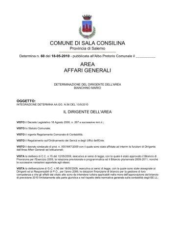 COMUNE DI SALA CONSILINA AREA AFFARI GENERALI