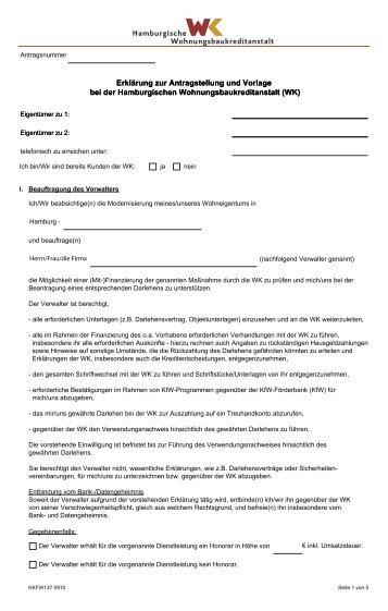 Erklärungen zur Antragstellung und Vorlage bei der Hamburgischen ...