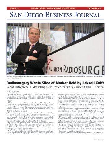 SAN DIEGO BUSINESS JOURNAL - American Radiosurgery