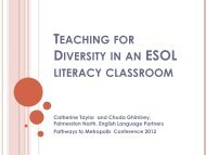 TEACHING FOR DIVERSITY IN AN LITERACY CLASSROOM
