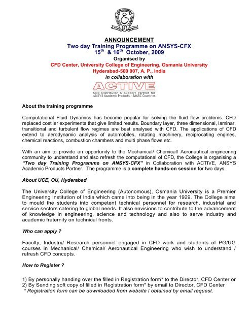 ANNOUNCEMENT Two day Training Programme on ANSYS-CFX