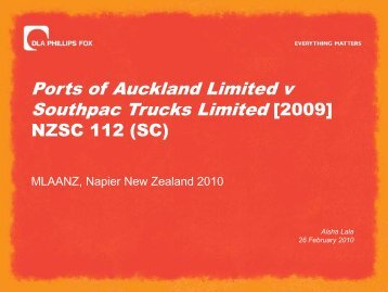 Ports of Auckland Limited v Southpac Trucks Limited [2009]