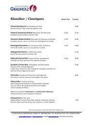 Klassiker / Classiques - Hotel & Restaurant Grauholz in Bern