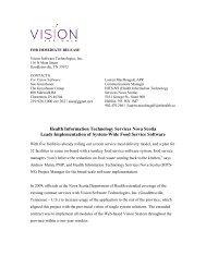 Health Information Technology Services Nova ... - HITS Nova Scotia